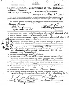 Henry Green's Application for Pension