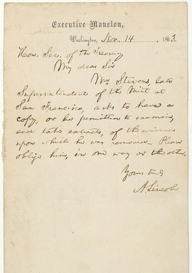 on may 28 national public radio informed readers of a recent acquisition by the national archives of a letter written by lincoln to secretary of treasury