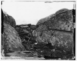 """The home of a Rebel Sharpshooter, Gettysburg"" by Alexander Gardner"