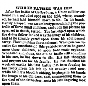 An article printed in the Philadelphia Inquirer on October 19, 1863 describing an unknown soldier who eventually turned out to be Amos Humiston