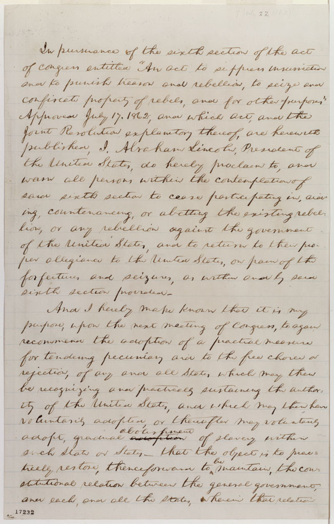 first draft of emancipation proclamation lincoln s writings first draft of emancipation proclamation
