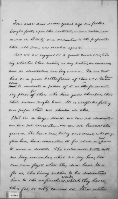 Hay draft of Gettysburg Address