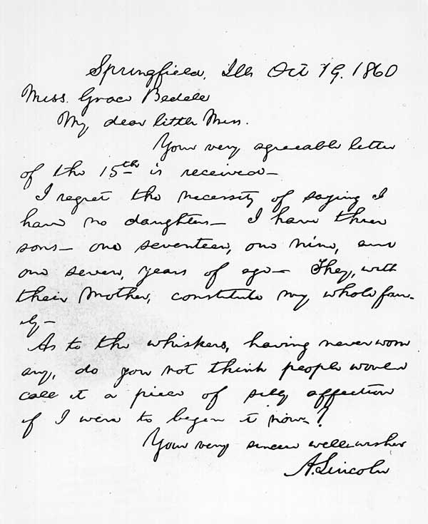 Image of 1860 letter from Lincoln