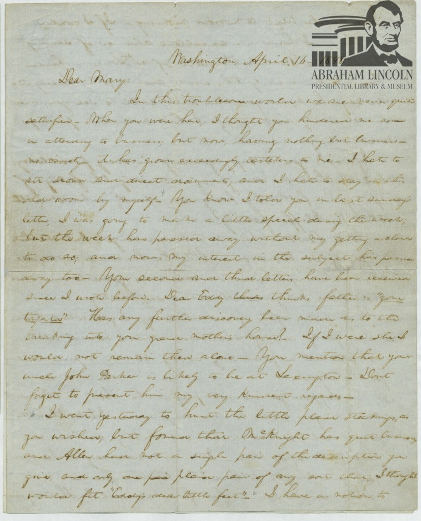 Letter to Mary Todd Lincoln