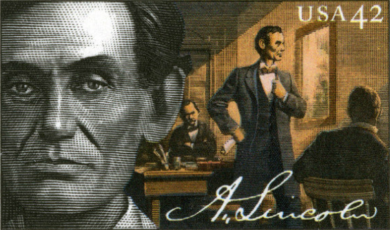 Lincoln as Lawyer stamp
