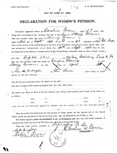 Wife of Henry Green's Application for Civil War Pension