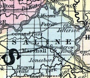 Map of Saline County 1857