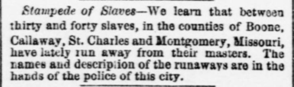 Newspaper clipping from St. Louis Daily Missouri Republican