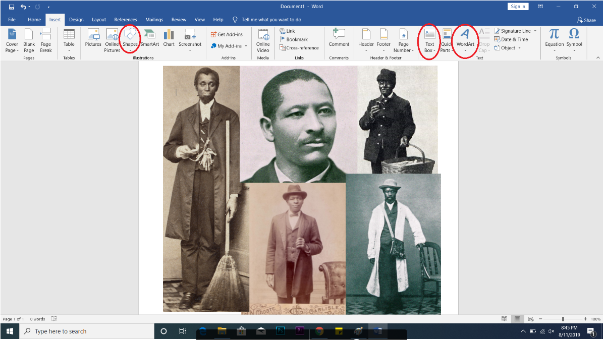 screenshot of Word for collage tutorial