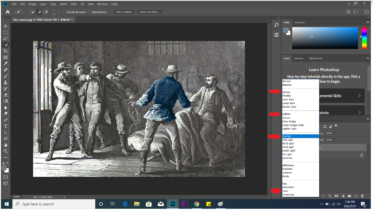 screenshot of Photoshop for colorizing tutorial