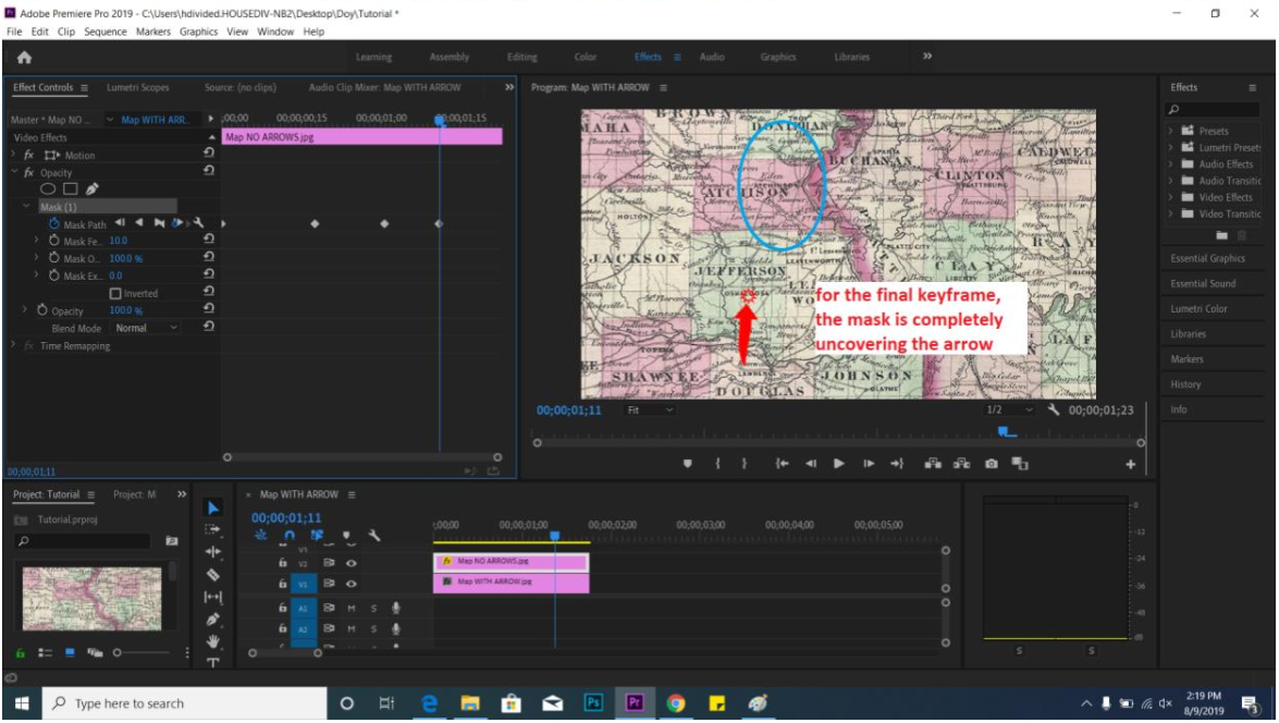 screenshot of Adobe Premiere animation tutorial