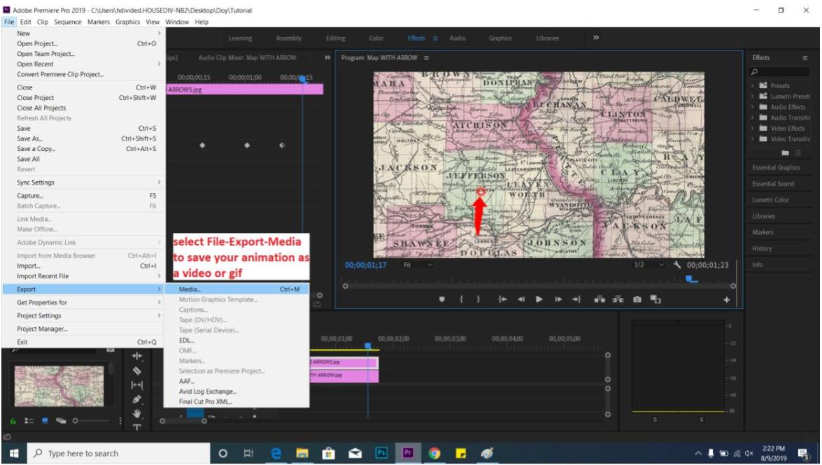 screenshot of Adobe Premiere animation tutorial